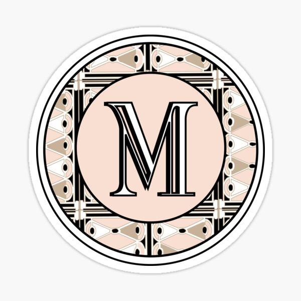 1920s Pink Champagne Deco Monogram letter M Sticker