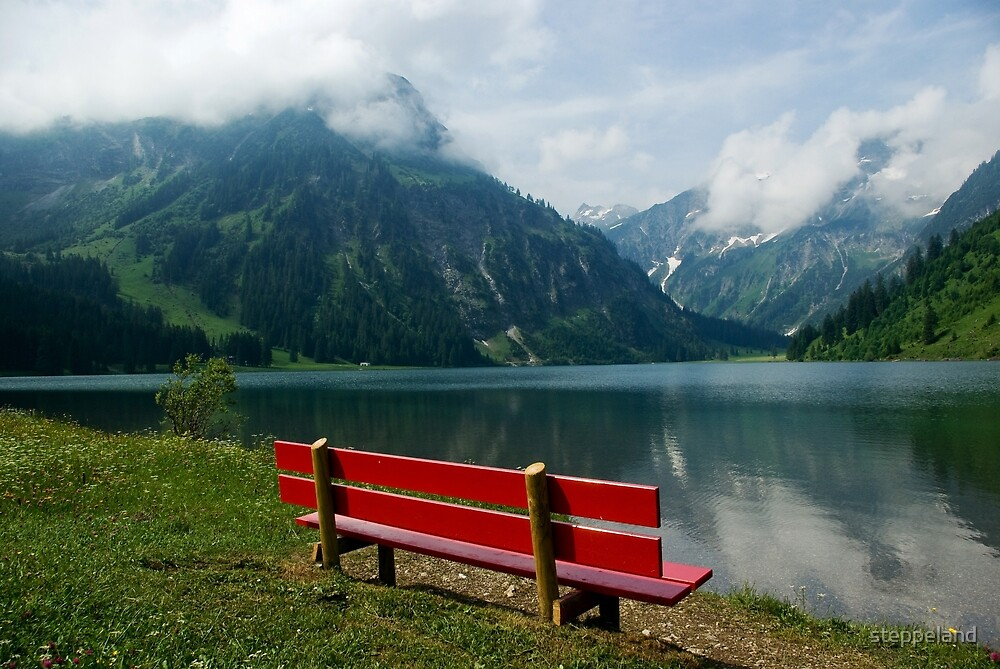 Red bench with a view by steppeland
