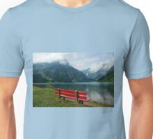 Red bench with a view Unisex T-Shirt