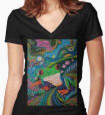 Red Eye Tree Frog Women's Fitted V-Neck T-Shirt