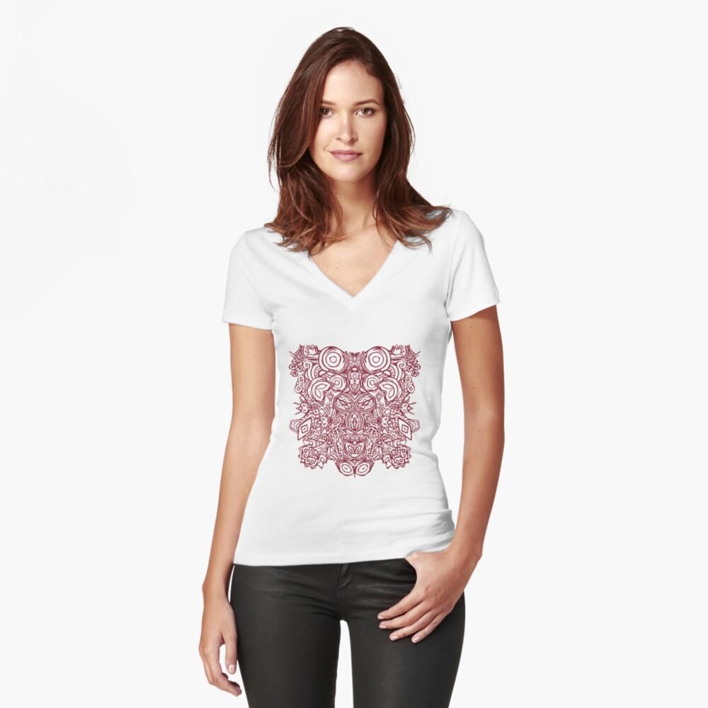 T-shirt moulant col V «Maya - Motif 1 - Bordeaux»