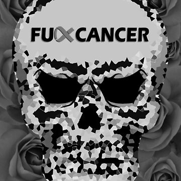 Fuck Cancer // Pixel Skull // Flowers  by GalaxyBeyond