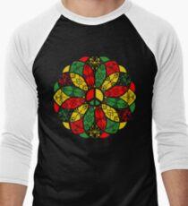 Ornamental Peace Mandala - Rasta Colours Men's Baseball ¾ T-Shirt