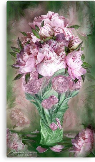 Pink Peonies In Peony Vase Canvas Prints By Carol Cavalaris Redbubble