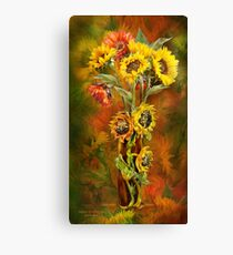 Sunflowers In Sunflower Vase Canvas Print