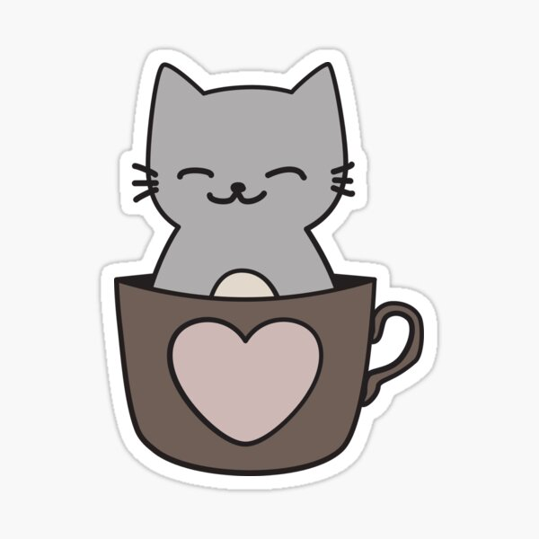 Cat in a cup – I love cats and coffe Sticker