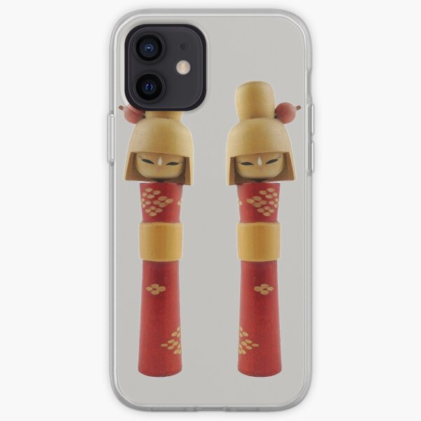 Traditional Japanese Wooden Kokeshi Dolls (#5b) Twins iPhone Soft Case