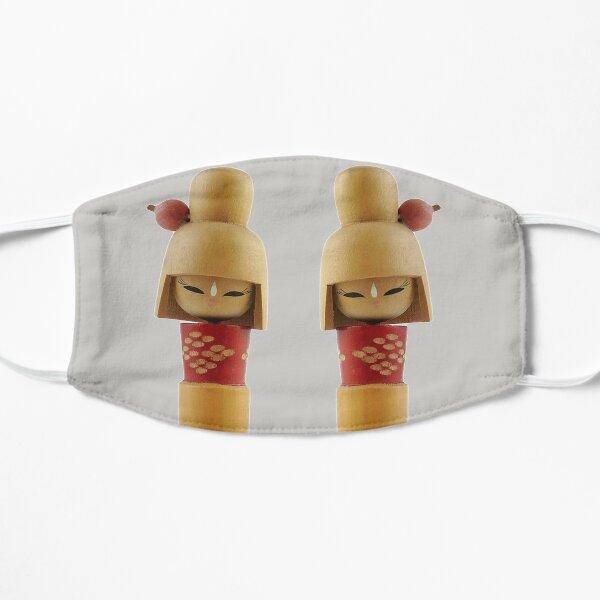 Traditional Japanese Wooden Kokeshi Dolls (#5b) Twins Flat Mask