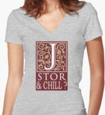JSTOR AND CHILL ? Women's Fitted V-Neck T-Shirt