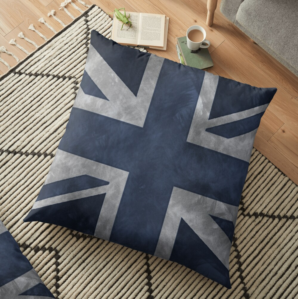 Blue Distressed Union Jack Floor Pillow
