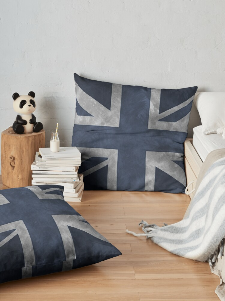 Alternate view of Blue Distressed Union Jack Floor Pillow