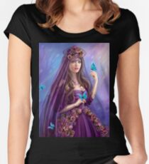 Beautiful woman fairy and blue butterflies.  Women's Fitted Scoop T-Shirt