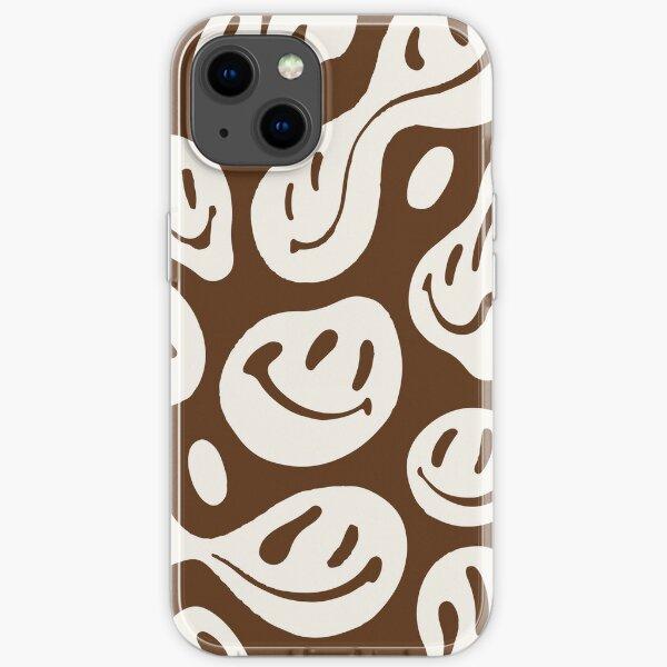 liquid smiley chocolate brown iPhone Soft Case