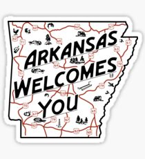 """Arkansas Welcomes You"", Vintage Road Sign 50s, USA Sticker"