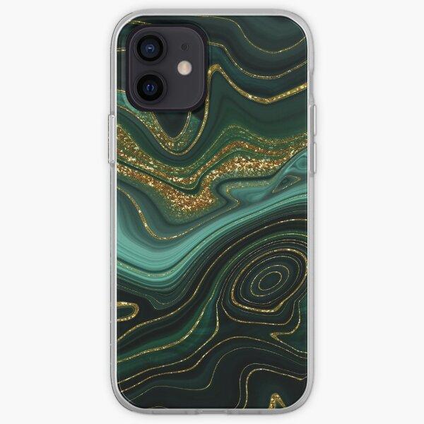 Gold Indigo Malachite Marble II iPhone Soft Case