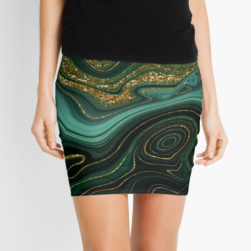 Gold Indigo Malachite Marble II Mini Skirt