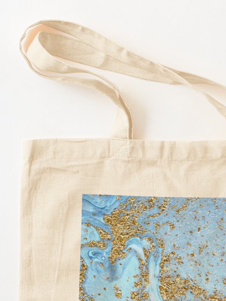 Alternate view of Blue Agate Marble With Gold Glitter Tote Bag