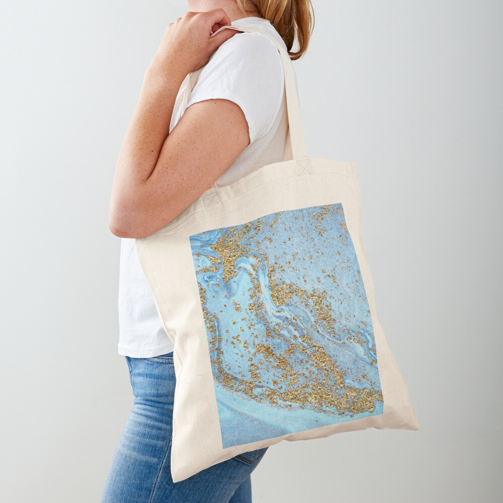 Blue Agate Marble With Gold Glitter Tote Bag