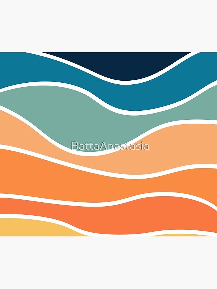 Retro style colorful waves by BattaAnastasia