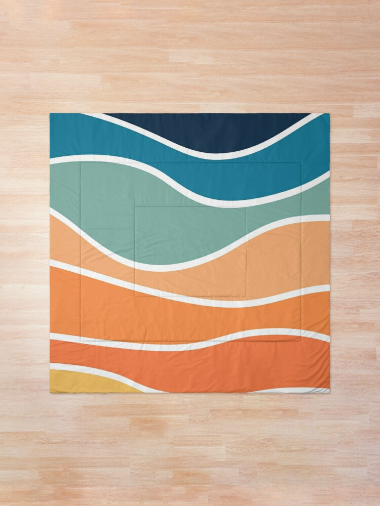 Alternate view of Retro style colorful waves Comforter