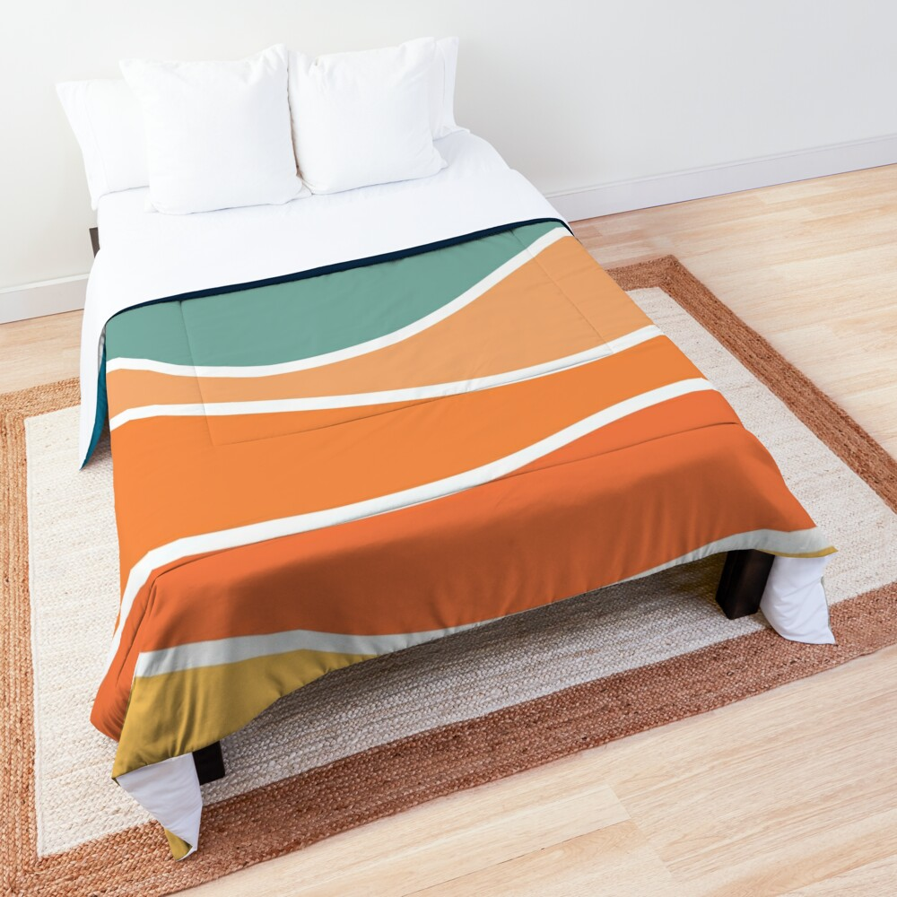 Retro style colorful waves Comforter
