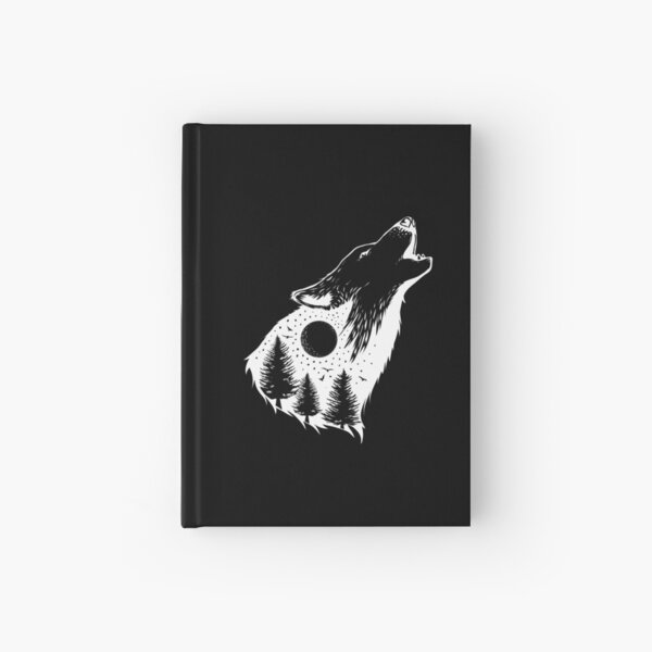Wolf Howls At The Winter Moon in Forest Hardcover Journal