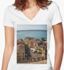 Lake Garda and Sirmione Old city in Italy Women's Fitted V-Neck T-Shirt