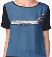 Illustration of British Airways Airbus A380 - Blue Version Chiffon Top