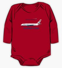 Illustration of British Airways Airbus A380 - Blue Version One Piece - Long Sleeve