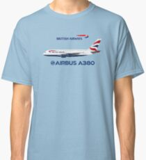 Illustration of British Airways Airbus A380 - Blue Version Classic T-Shirt
