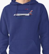 Illustration of British Airways Airbus A380 - Blue Version Pullover Hoodie