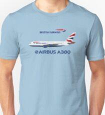 Illustration of British Airways Airbus A380 - Blue Version Unisex T-Shirt
