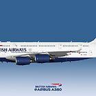 Illustration of British Airways Airbus A380 - Blue Version by © Steve H Clark