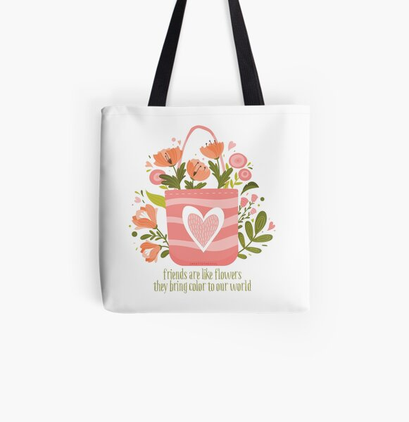 Spring flowers and friends All Over Print Tote Bag