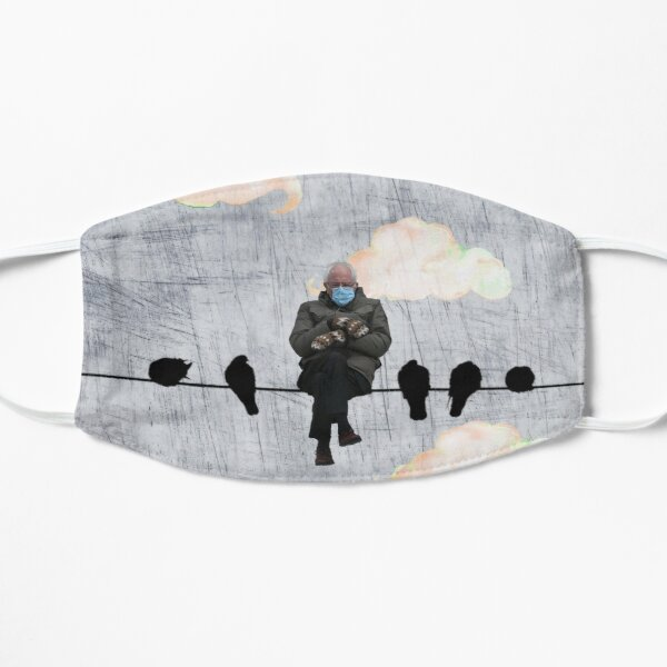 bernie sanders with the birdies on a wire Flat Mask