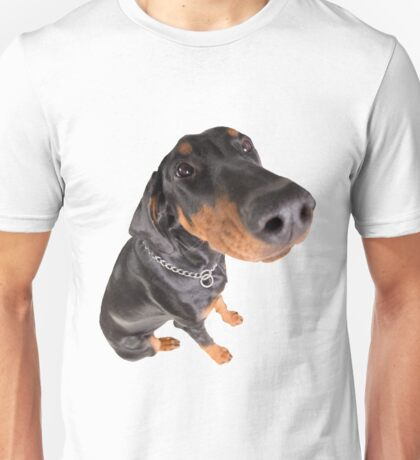 funny doberman pincher portrait Unisex T-Shirt