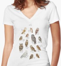 Owls Women's Fitted V-Neck T-Shirt