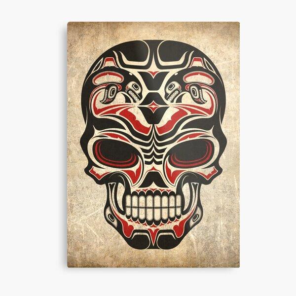 Aged and Worn Haida Native Skull Design Metal Print