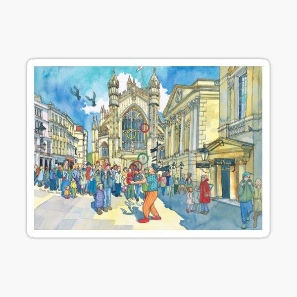 Busking in Bath Abbey Churchyard Sticker