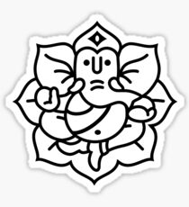 Ganesh Ganesa Ganapati 2 (black white) Sticker