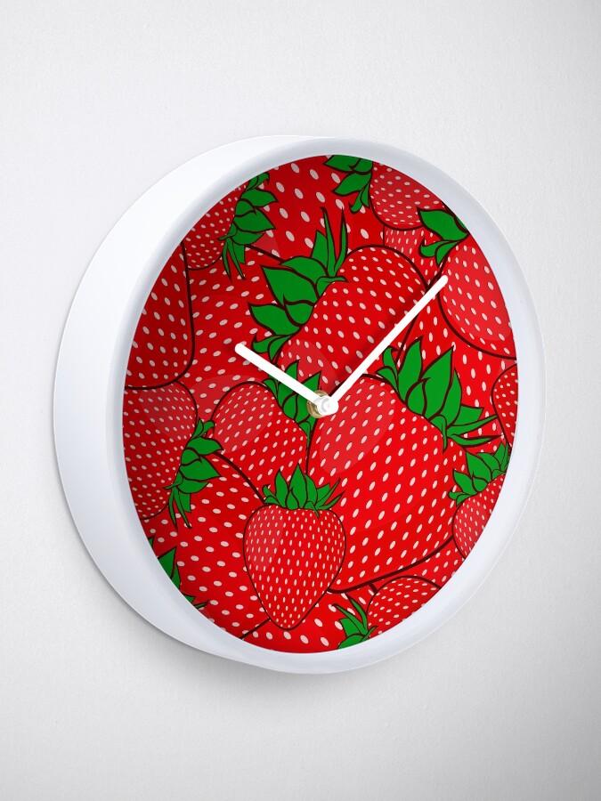 Yummy Strawberries Fruit Artwork Clock by Pamela Arsena