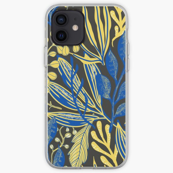 yellow and blue patterns iPhone Soft Case