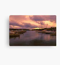 """""""Dawn at Charlevoix Marina"""" Canvas Print"""
