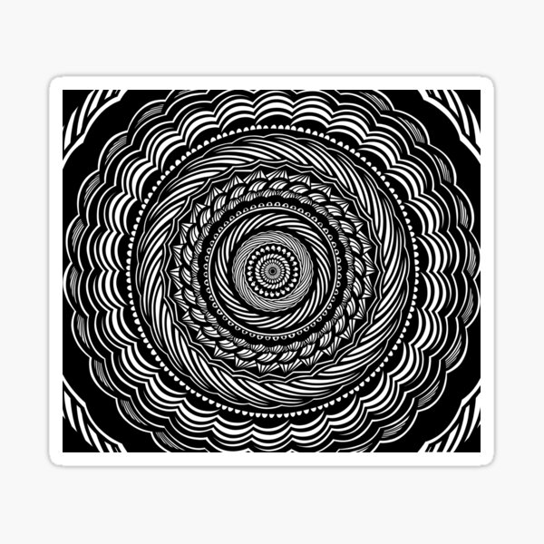 Black and White Swirled Mandala Design Pattern // Aesthetic Calming Meditation Gratitude Minimalistic Sticker