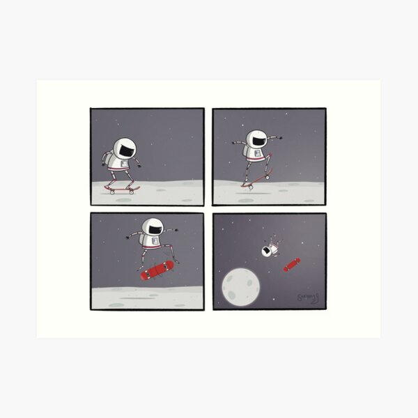 Space Skater Comic Art Print