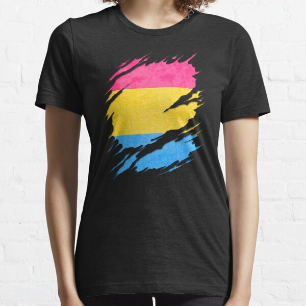 Pansexual Pride Flag Ripped Reveal Essential T-Shirt