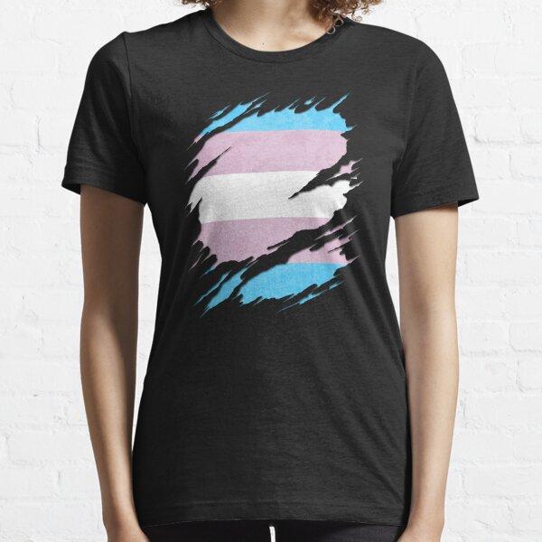 Transgender Pride Flag Ripped Reveal Essential T-Shirt