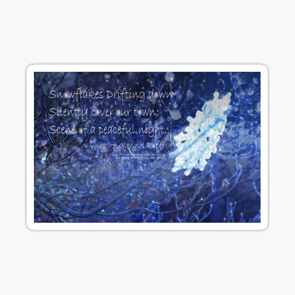snowflake in blue 7 haiku with texture Sticker