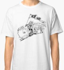 Camiseta clásica TRABAJA DURO - Knight Riding a Vintage Circular Saw