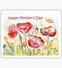 Happy Mother's Day! - Red Poppy Sticker